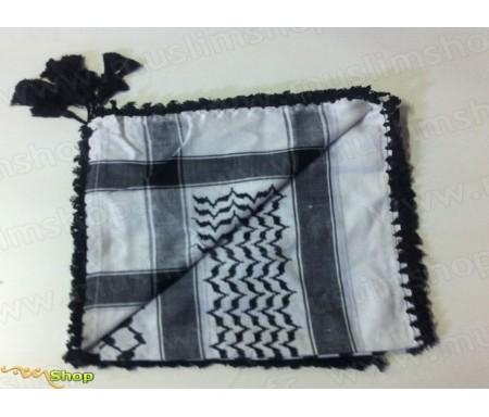Grand foulard Palestinien (Keffieh) de couleur Dominante de Blanc et Noir