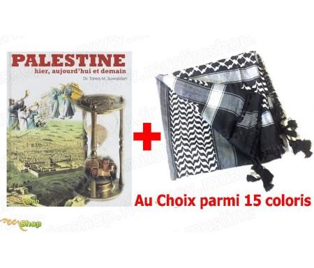 """A - Pack Livre """"Palestine - Hier, Aujourd'hui et Demain"""" + Keffieh (A choisir parmi 15 coloris)"""