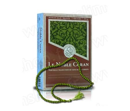 """Coffret Luxe Vert """"Le Noble Coran et la Traduction du Sens de ses Versets"""" + 1 chapelet Offert !"""