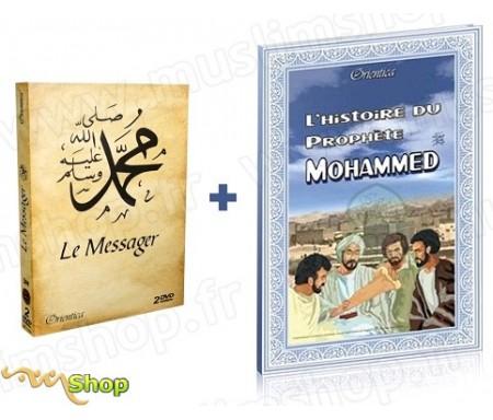 Pack : Livre L'Histoire du Prophète Mohammed + Coffret 2 DVD Le Messager (Film d'animations bilingue français / arabe)