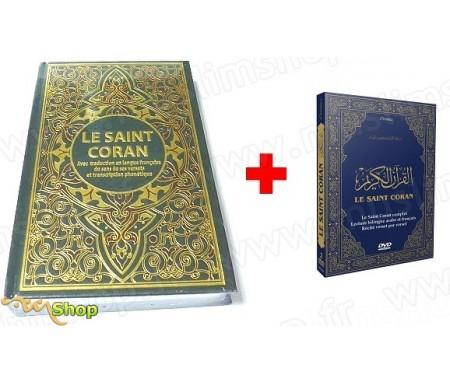 Pack Livre + DVD (Bilingue arabe/français) : Le Saint Coran avec traduction en langue française du sens de ses versets et transc