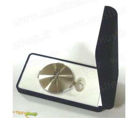 Boussole métallique haute précision argentée dans boite velours