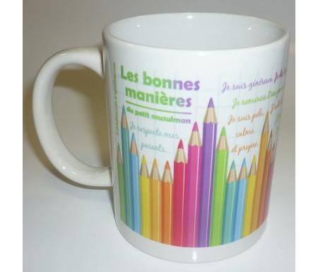 """Mug Les """"bonnes manières"""" du petit musulman - pour enfants - crayons de couleur"""