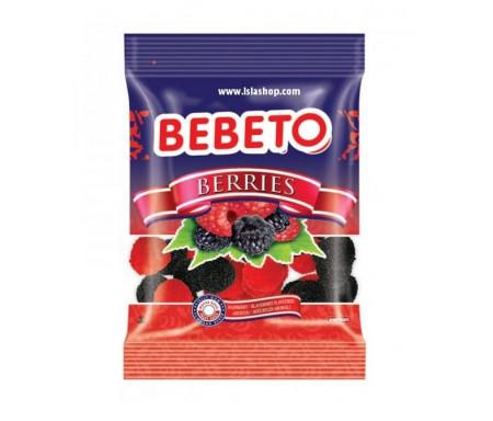 Bonbons Halal Berries Framboise et Mûre (Baies) - Fabriqué avec du vrai Jus de Fruit - Bebeto - Sachet 80gr
