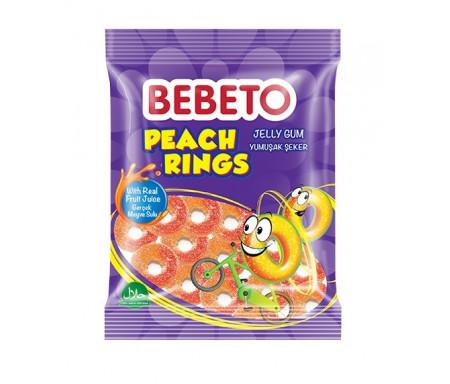 Bonbons Halal Peach Rings (Anneaux de Pèche) - Fabriqué avec du vrai Jus de Fruit - Bebeto - Sachet 80gr