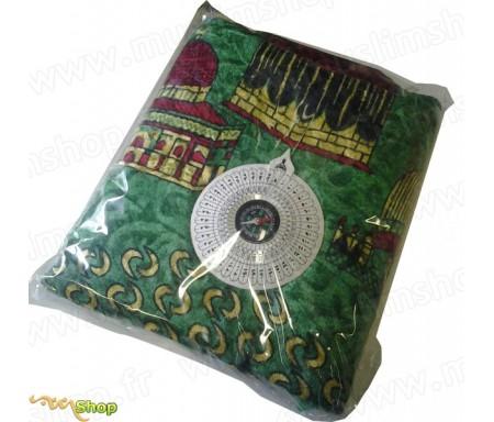 Tapis de prière avec boussole intégrée - couleur verte