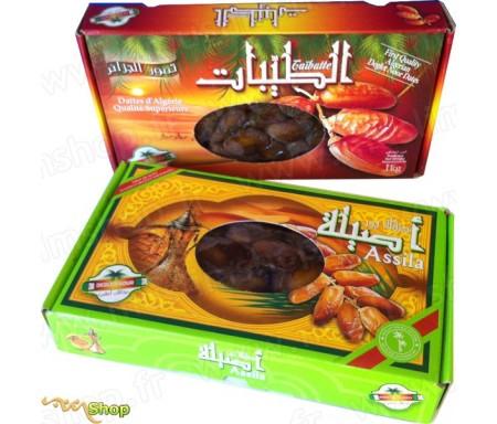 Pack Ramadan Dattes Fraiches Deglet Noor d'Algérie - Qualité supérieure - Assila & Taïbatte - 2Kg