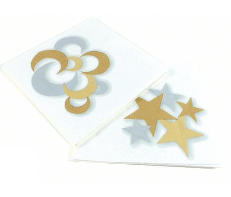 Paquet de 20 Serviettes en papier Lunes et Etoiles Or & Argent