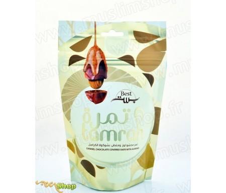 Tamrah - Dattes aux amandes enrobées de Chocolat caramel - 100gr
