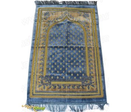 Tapis de prière Velours Bleu Azur - Motif losange