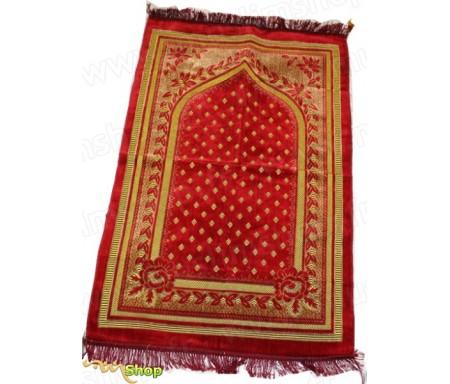 Tapis de prière Velours Rouge Corail - Motif losange
