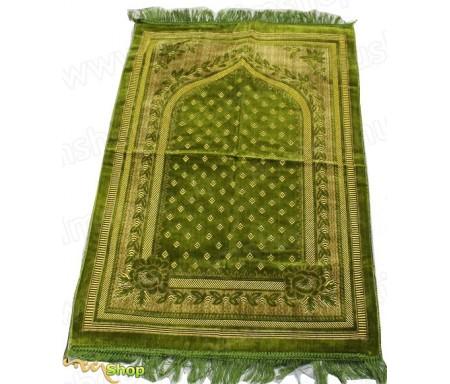Tapis de prière Velours Vert Anis - Motif losange