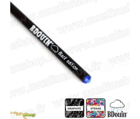 """Crayon en bois et strass Bleu """"Black Edition"""" - Bdouin"""