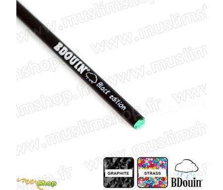 "Crayon en bois et strass Vert ""Black Edition"" - Bdouin"