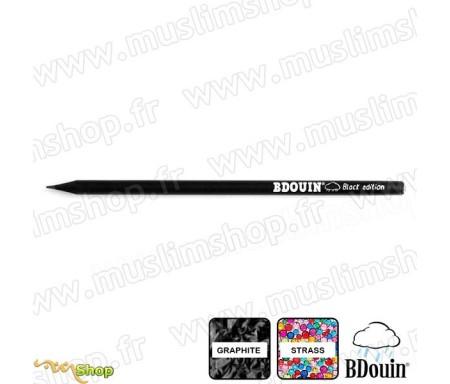 "Crayon en bois et strass blanc ""Black Edition"" - Bdouin"