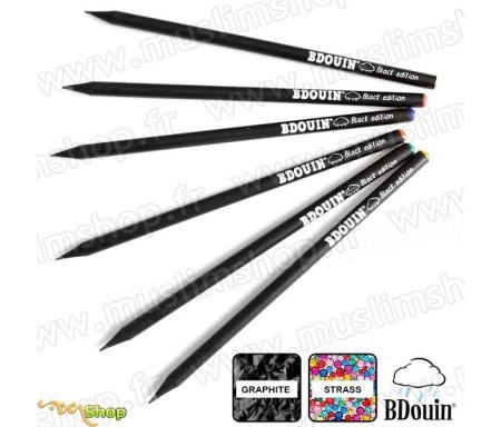 """Pack de 6 crayons en bois et strass """"Black Edition"""""""