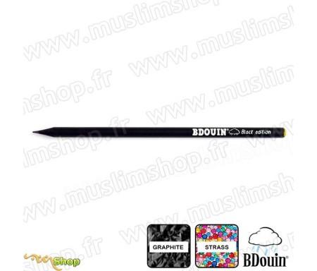 """Crayon en bois et strass Jaune """"Black Edition"""" - Bdouin"""