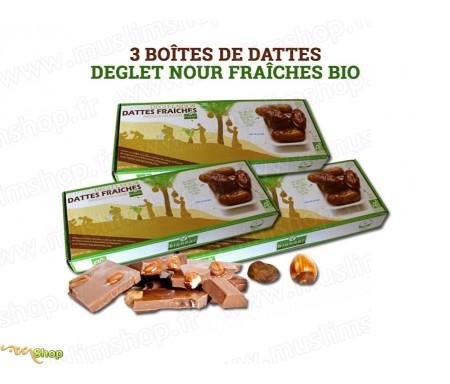"""Pack 3 Boîtes de Dattes fraîches Bio """"Deglet Nour"""" Bionoor 1kg"""