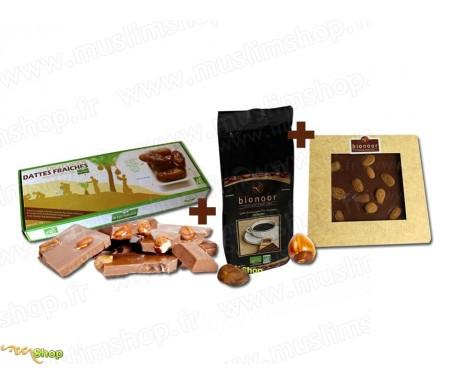"""Pack Découverte Bionoor : Dattes fraîches Bio """"Deglet Nour"""" Bionoor 1kg + Chocolat Lait - Amande Bionoor 115g + Café Biologique"""
