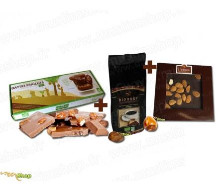 """Pack Découverte Bionoor : Dattes fraîches Bio """"Deglet Nour"""" Bionoor 1kg + Chocolat Noir - Amande Bionoor 115g + Café Biologiq"""