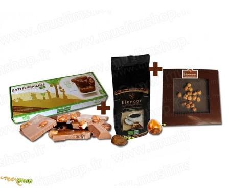 """Pack Découverte Bionoor : Dattes fraîches Bio """"Deglet Nour"""" Bionoor 1kg + Chocolat Noir - Noisettes Bionoor 115g + Café Biologi"""