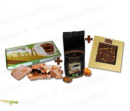 """Pack Découverte Bionoor : Dattes fraîches Bio """"Deglet Nour"""" Bionoor 1kg + Chocolat Lait - Noisettes Bionoor 115g + Café Biologiq"""