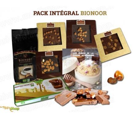 """Pack Intégral Bionoor : Dattes fraîches Bio """"Deglet Nour"""" Bionoor 1kg + Chocolat Lait - Amande Bionoor 115g + Café Biologique Bi"""