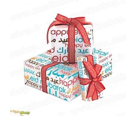"""Papier Cadeau """"Eid Mubarak"""" 1m40 x 50cm"""