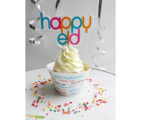 8 Contours de Moules à Cup Cakes (Wrapper) avec son Pic de Décoration Eid Mubarak