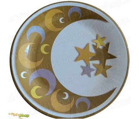 Lot de 10 grandes Assiettes pour Diner Eid Mubarak de 26 cm de diamètre modèle Or & Argent