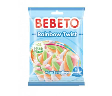 Bonbons Halal Marshmallow Rainbow Twist Bebeto - Sans gras (sachet de 60g)