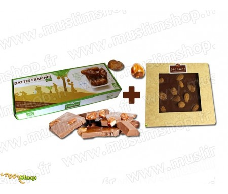 "Pack Bionoor :Dattes fraîches Bio ""Deglet Nour"" Bionoor 1kg + Chocolat Lait - Amande Bionoor - 115g"