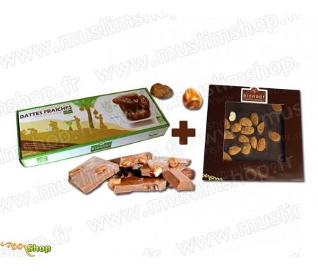 "Pack Bionoor : Dattes fraîches Bio ""Deglet Nour"" Bionoor 1kg + Chocolat noir - Amande Bionoor - 115g"