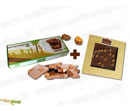 "Pack Bionoor : Dattes fraîches Bio ""Deglet Nour"" Bionoor 1kg + Chocolat Lait - Noisettes Bionoor - 115g"
