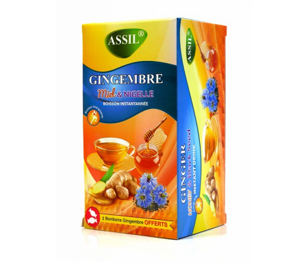 Assil - Thé naturel au Gingembre, miel & nigelle