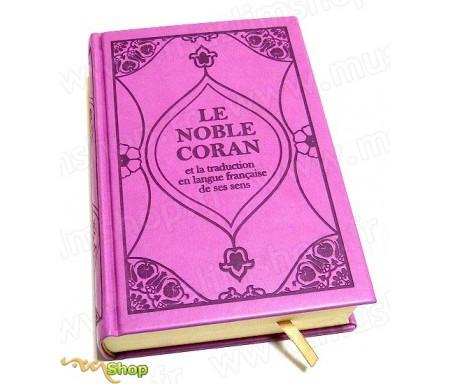 Le Noble Coran et la traduction en langue française de ses sens (bilingue français/arabe) - Edition de luxe couverture cartonnée en daim mauve-violet