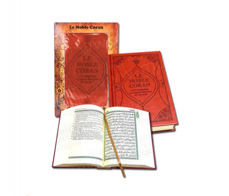 Le Noble Coran et la traduction en langue française de ses sens (bilingue français/arabe) - Edition de luxe couverture cartonnée en daim orange-terre