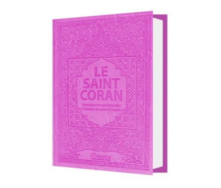 Le Saint Coran - Transcription (phonétique) en caractères latins et Traduction des sens en français - Edition de luxe (Couverture en cuir mauve-violet)