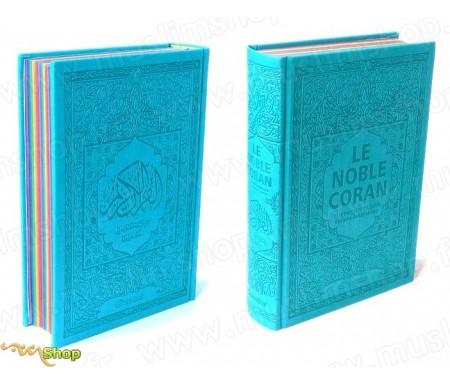 Le Noble Coran avec pages en couleur Arc-en-ciel (Rainbow) - Bilingue (français/arabe) - Couverture Daim de couleur bleue clair