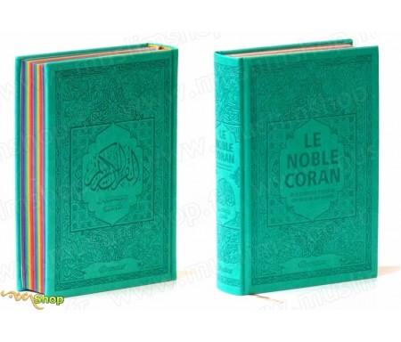 Le Noble Coran avec pages en couleur Arc-en-ciel (Rainbow) - Bilingue (français/arabe) - Couverture Daim de couleur verte