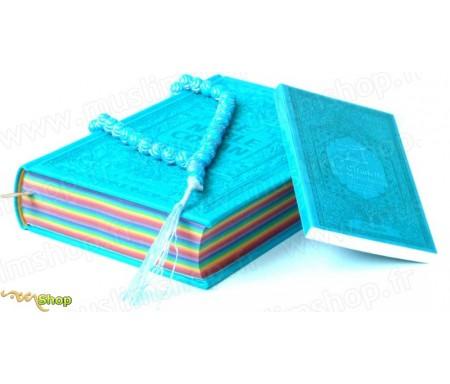 Pack Cadeau Bleu : Le Saint Coran Rainbow Bilingue (aux couleurs Arc-en-ciel) + La Citadelle du Musulman (français / arabe / phonétique) + Chapelet assorti