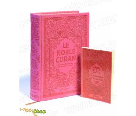 Pack Cadeau Rose : Le Noble Coran Rainbow (Arc-en-ciel) Bilingue français/arabe et La Citadelle du Musulman assortie