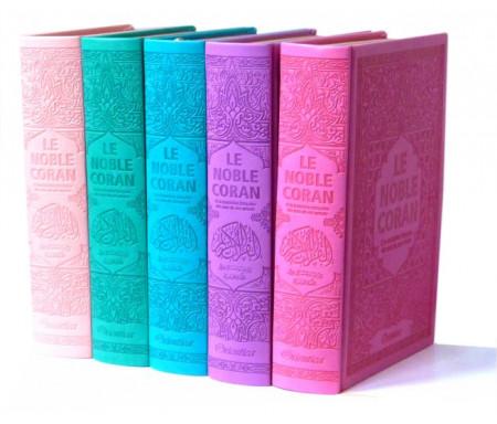 Pack de 5 Corans de luxe en 5 couleurs de couvertures différentes : Le Saint Coran bilingue avec pages en couleurs d'Arc-en-ciel